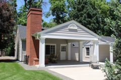 Classic Home Renovation Exterior Pergola & Chimney