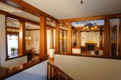 Open Craftsman Style Hallway Renovation with Exposed Cherry Wood Beams Throughout