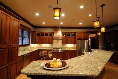 Open Cherry Wood Kitchen in Craftsman Renovation Project in Colorado Springs