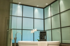 Beautiful Modern Bathroom Glass Window Wall & Modern Bathtub—CO Residential remodeling contractors