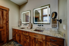 Mountain Inspired Bathroom - Duo Sinks, Granite Countertops, & Double Built in Illuminated mirrors