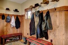 Mountain Home Mudroom Design - Exposed Live Wood Shelves & Backsplash